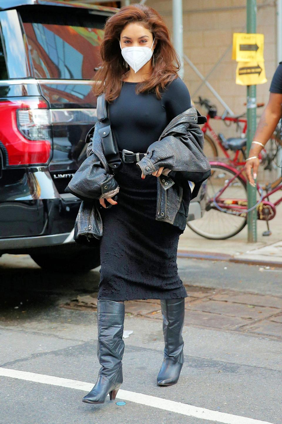 <p>Vanessa Hudgens is seen in an all-black ensemble as she makes her way to the set of Lin-Manuel Miranda's directorial debut <i>Tick, Tick...BOOM! </i>on Tuesday in N.Y.C. </p>