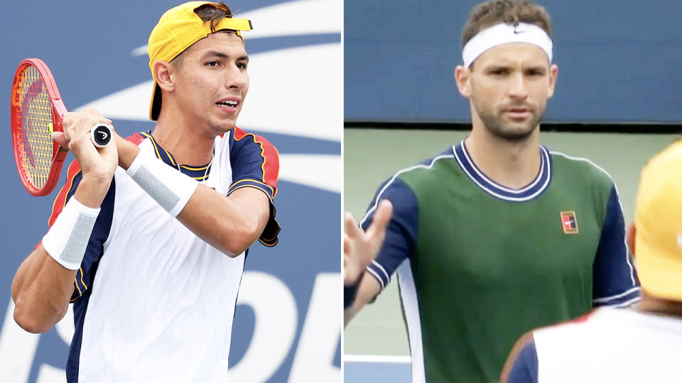 Alexei Popyrin, pictured here after adding Grigor Dimitrov to his growing list of high-profile scalps.