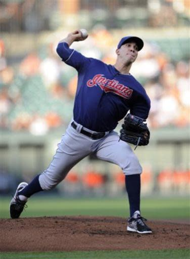 Cleveland Indians starting pitcher Ubaldo Jimenez delivers against the Baltimore Orioles during the first inning of a baseball game, Monday, June 24, 2013, in Baltimore. (AP Photo/Nick Wass)