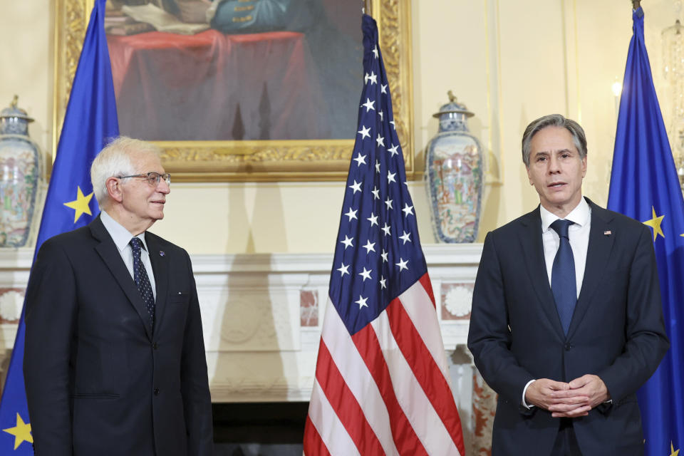 Secretary of State Antony Blinken speaks to members of the media as he meets with European Union High Representative Josep Borrell at the State Department in Washington, Thursday, Oct. 14, 2021. (Jonathan Ernst/Pool via AP)