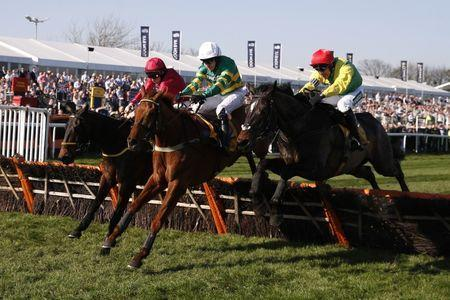 Britain Horse Racing - Grand National Festival - Aintree Racecourse - 8/4/17 Barry Geraghty on Yanworth (C) in action during the 4:20 Ryanair Stayers Liverpool Hurdle Reuters / Phil Noble Livepic