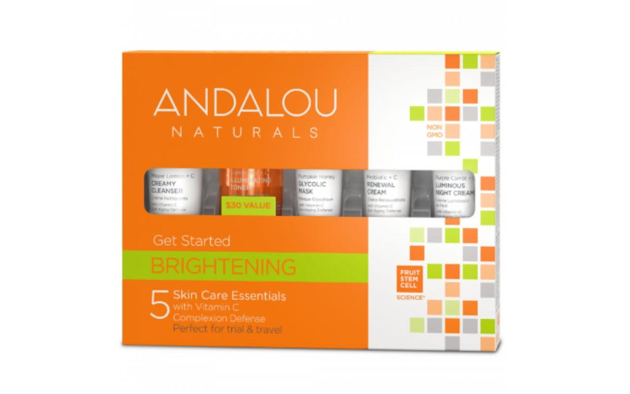 "Andalou Naturals is the first beauty brand to achieve non-GMO Project Verified status, according to <a href=""https://andalou.com/pages/our-standards"" rel=""nofollow noopener"" target=""_blank"" data-ylk=""slk:its website"" class=""link rapid-noclick-resp"">its website</a>. The company&nbsp;uses certified organic, sustainably sourced, fair-trade ingredients in its always cruelty-free products.<strong>&nbsp;<br><br> <a href=""https://andalou.com/collections/all-skin-care/products/brightening-get-started-kit"" rel=""nofollow noopener"" target=""_blank"" data-ylk=""slk:Get the Andalou Naturals brightening kit for $19.99"" class=""link rapid-noclick-resp"">Get the Andalou Naturals brightening kit for $19.99</a>.</strong>"