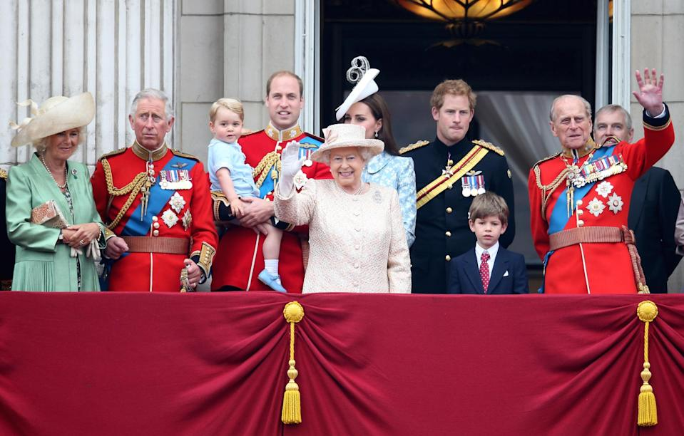 <p>The royal family watch the fly-past from the balcony of Buckingham Palace</p> (Chris Jackson/Getty Images)