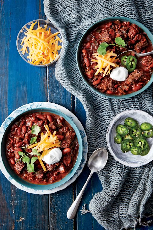 "<p><strong>Recipe: <a href=""http://www.southernliving.com/recipes/pressure-cooker-beef-bean-chili-recipe"">Pressure-Cooker Beef-and-Bean Chili</a> </strong></p> <p>You might think of using your slow-cooker for chili, but have to ever used your pressure-cooker? This is the perfect chili recipe to get a full flavored chili on the table in under an hour.</p>"