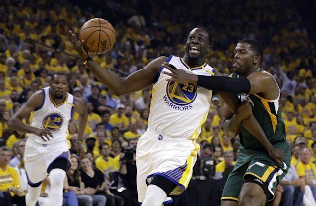 "<a class=""link rapid-noclick-resp"" href=""/nba/players/5069/"" data-ylk=""slk:Draymond Green"">Draymond Green</a> imposed his will on both ends of the floor in Game 1. (AP)"