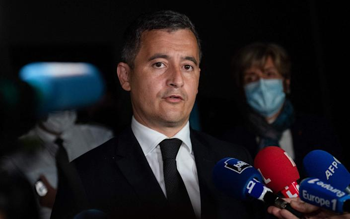 Gerald Darmanin, French interior minister, at the Avignon police station after a French officer was killed during an anti-drug operation in Avignon on May 5, 2021