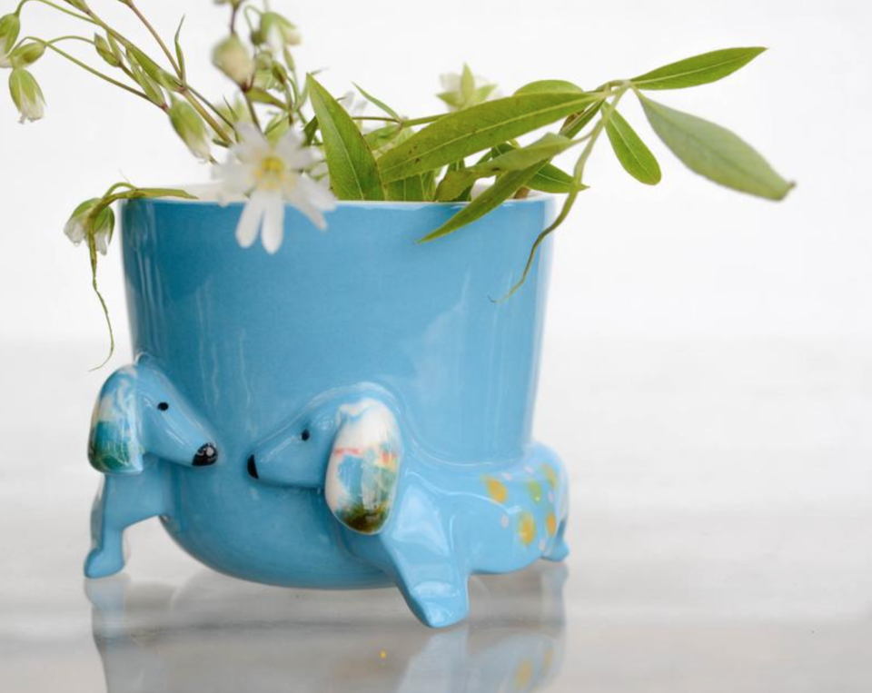 Dachshund Flower Pot in Turquoise (Photo via Etsy)