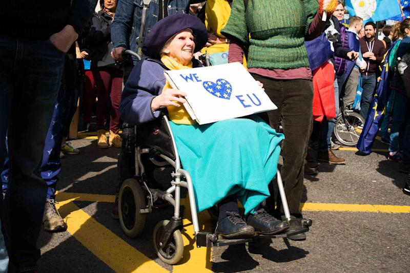 Else Catchpole, 92, travelled from Cambridge to join tens of thousands of other pro-EU marchers in London yesterday: Emily Goddard