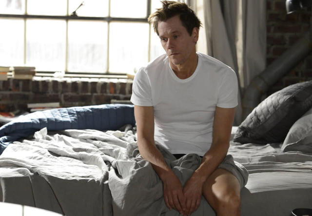 "In a flashback scene, Ryan Hardy (Kevin Bacon) wakes up after a long night of drinking in the ""Mad Love"" episode of ""The Following."""