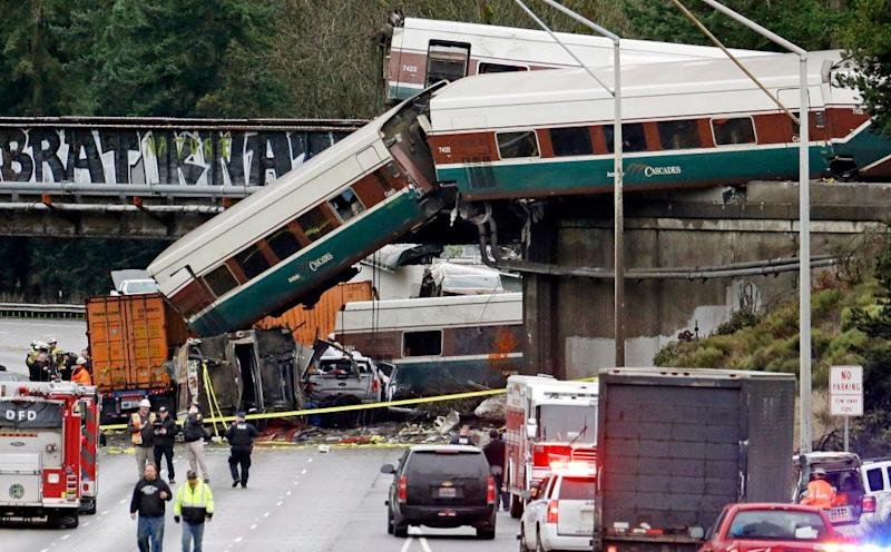 An Amtrak train derailed near DuPont, Wash., and sent cars spilling onto Interstate 5 below, on Dec. 18, 2017.