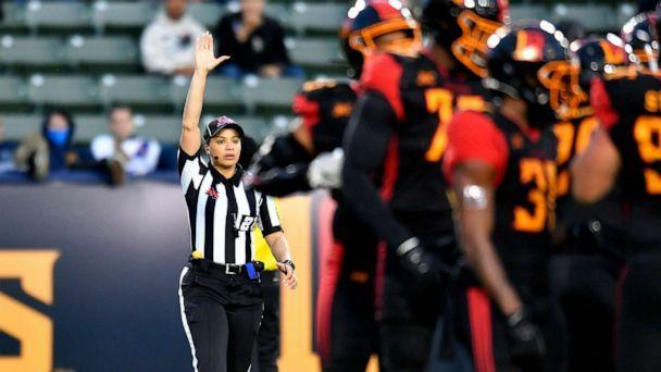 PHOTO: Line Judge Maia Chaka during a game between LA Wildcats and Tampa Bay Vipers at Dignity Health Sports Park during an XFL game, March 8, 2020, in Carson, Calif.  (John Mccoy/Getty Images)