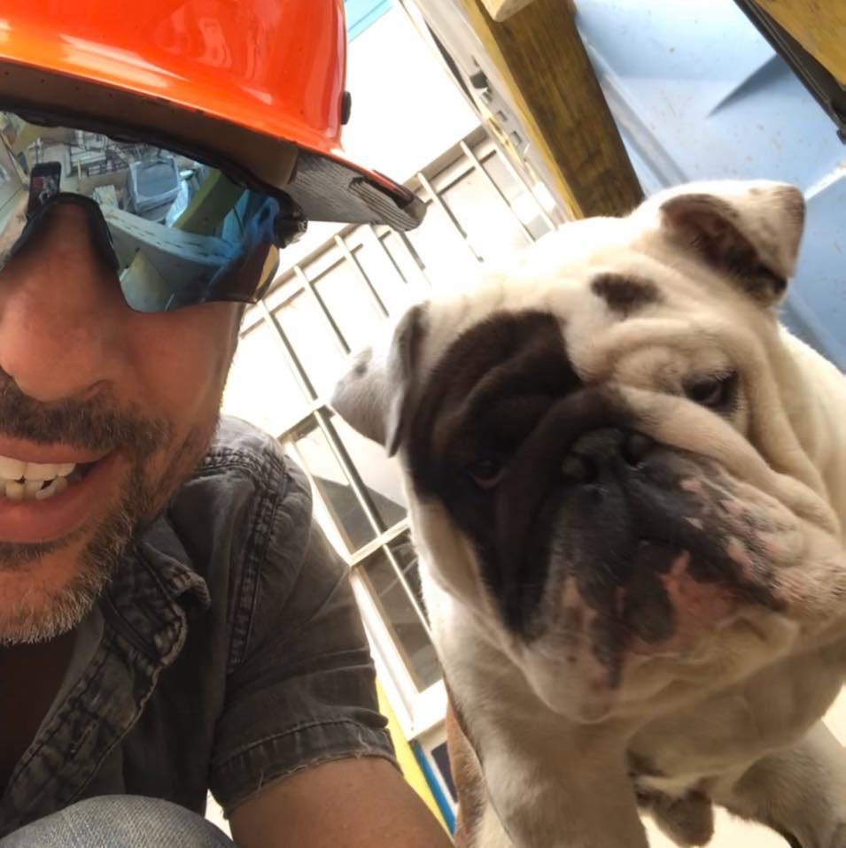 Anthony Balletta pictured with his bulldog Frank.