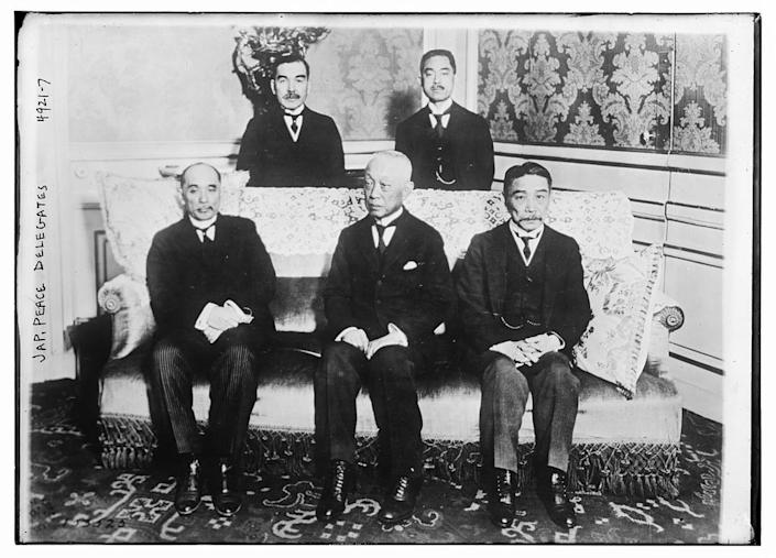 The five members of the Japanese delegation to the Paris peace conference.