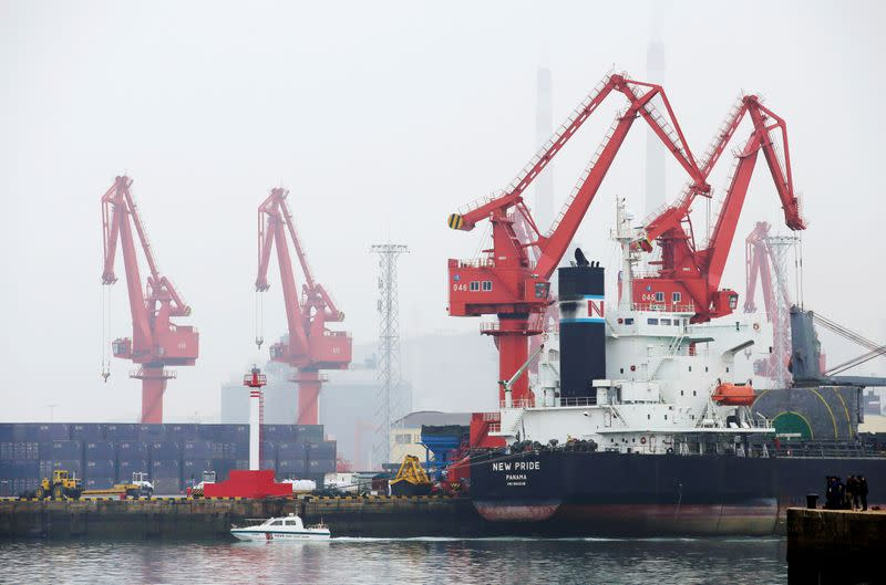 FILE PHOTO: A crude oil tanker is seen at Qingdao Port, Shandong province, China