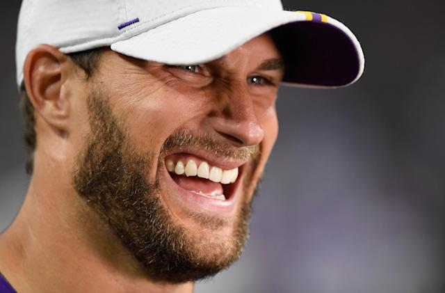 Kirk Cousin is all smiles about a revamped Vikings offense. (Getty Images)