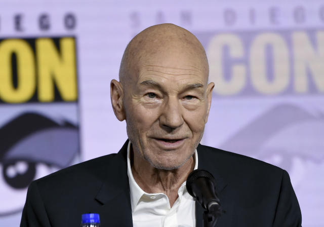 """Patrick Stewart speaks at the """"Star Trek: Picard"""" portion of the Enter the """"Star Trek"""" Universe panel on day three of Comic-Con International on Saturday, July 20, 2019, in San Diego. (Photo by Chris Pizzello/Invision/AP)"""