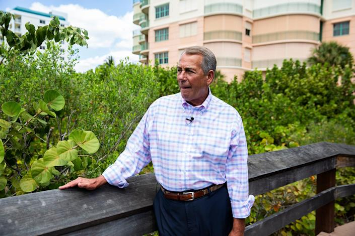 """Former Speaker of the House John Boehner poses for a portrait after speaking with USA TODAY Washington Bureau Chief Susan Page about his new memoir """"On the House: A Washington Memoir,"""" in Marco Island, Fla. on April 5, 2021."""