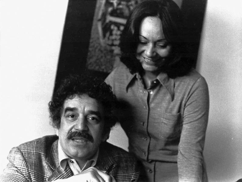 In this 1975 photo released by the Fundacion Nuevo Periodismo Iberoamericano (FNPI), Colombian author Gabriel Garcia Marquez sits with wife Mercedes Barcha at an unknown location. The Nobel laureate died on Thursday, April 17, 2014 at his home in Mexico City. His magical realist novels and short stories exposed tens of millions of readers to Latin America's passion, superstition, violence and inequality. The FNPI was founded by Garcia Marquez. (AP Photo/FNPI)