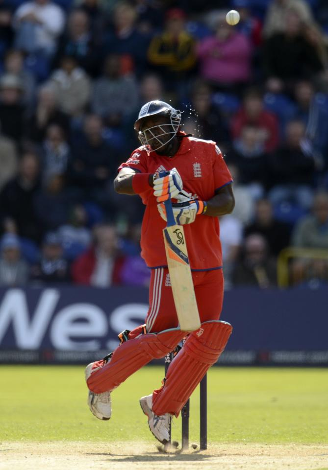 England's Michael Carberry plays a shot during the fourth one-day international against Australia at Sophia Gardens in Cardiff, Wales September 14, 2013. REUTERS/Philip Brown (BRITAIN - Tags: SPORT CRICKET)