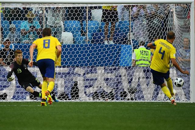 Captain Andreas Granqvist scored the penalty that gave Sweden victory (AFP Photo/Johannes EISELE)