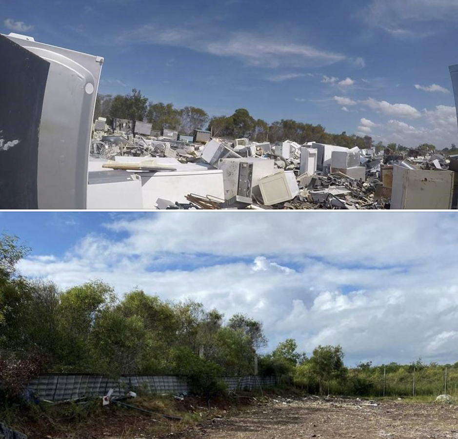 Waste in Maryborough before (top) and after (bottom) it was cleaned up.
