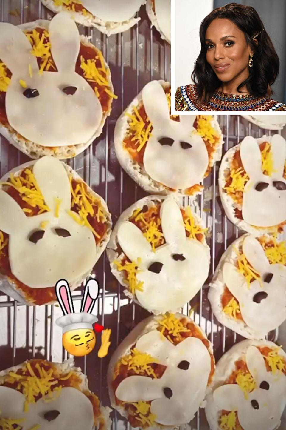 <p>Forget chocolate eggs, we want bunny pizzas! The <em>Little Fires Everywhere</em> star made these adorable mini pizzas for Easter. </p>