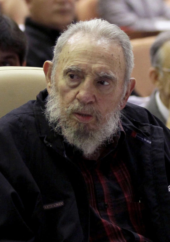 Cuba's leader Fidel Castro attends the opening session of the National Assemby in Havana, Cuba, Sunday, Feb. 24, 2012. Cuba's parliament reconvened Sunday with new membership and was expected to name Raul Castro to a new five-year-term as president. He fueled speculation on Friday when he talked of his possible retirement and suggested he has plans to resign at some point.(AP Photo/Ismael Francisco, Cubadebate)