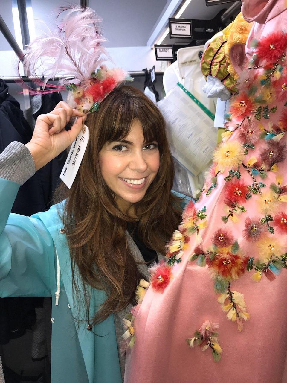 Here I am trying on one of the Featherington's headdresses.