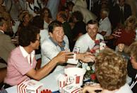 <p>Presidents love their fast food -- just like President Ronald Reagan seen here at the Daytona International Speedway in 1984. </p>