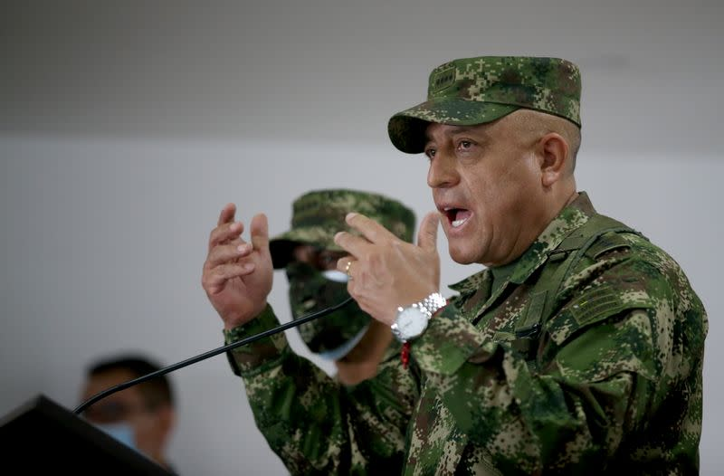 Commander of the Colombian Military Forces, General Luis Fernando Navarro speaks about the assassination of Haitian President Jovenel Moise, in Bogota