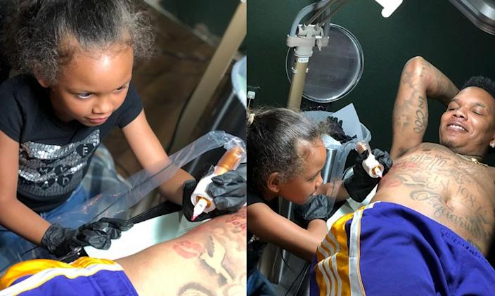 Asia, 7, signed her dad's tattoo. (Photo: Instagram/icemikeloveasia)