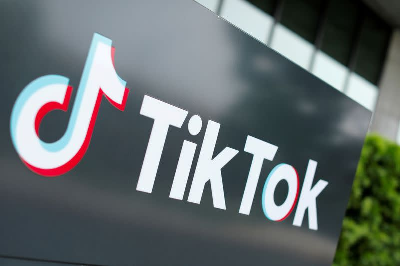 FILE PHOTO: The TikTok logo is pictured outside the company's U.S. head office in California
