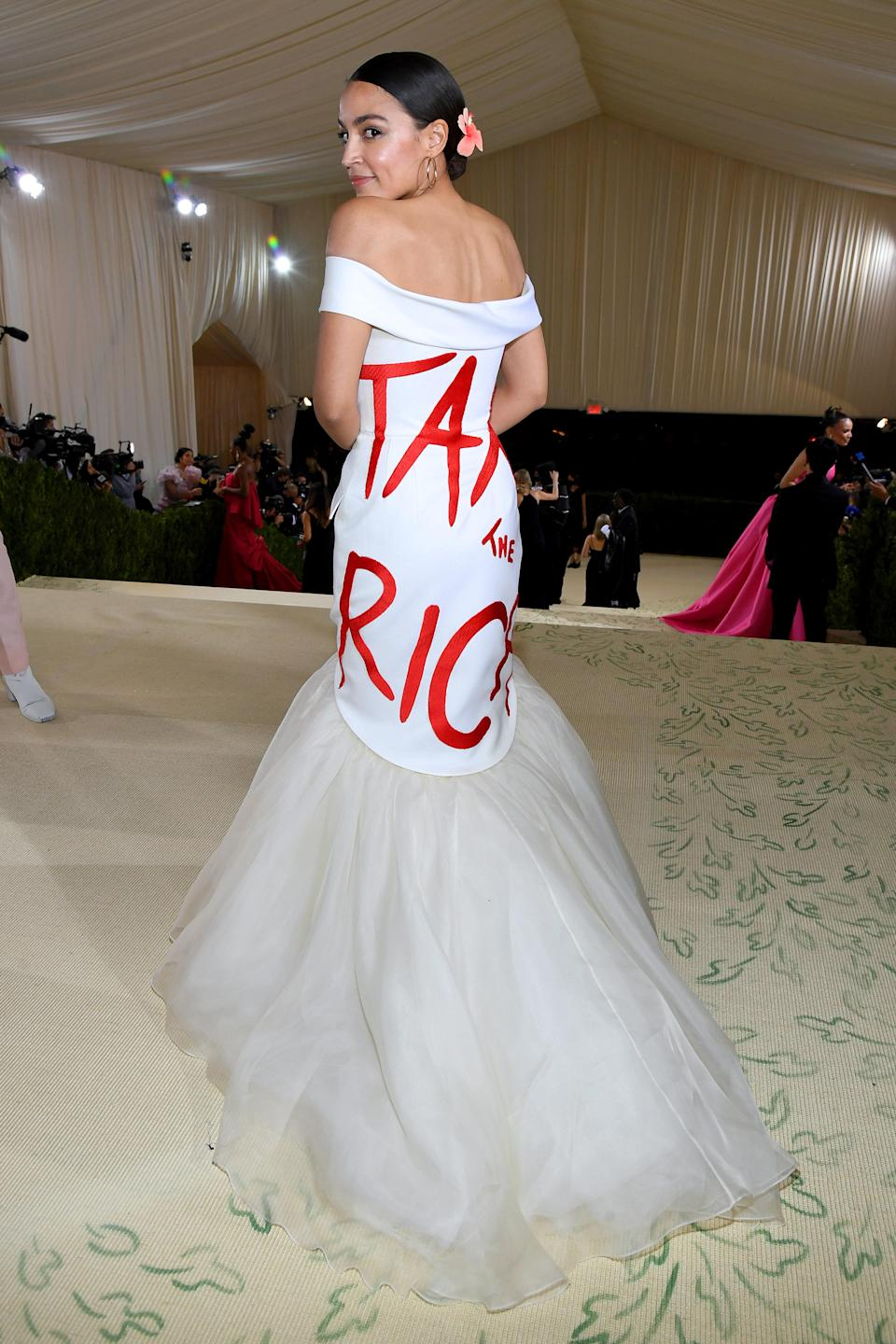 NEW YORK, NEW YORK - SEPTEMBER 13: Alexandria Ocasio-Cortez attends The 2021 Met Gala Celebrating In America: A Lexicon Of Fashion at Metropolitan Museum of Art on September 13, 2021 in New York City. (Photo by Kevin Mazur/MG21/Getty Images For The Met Museum/Vogue)