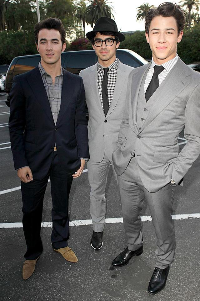 """Kevin and Joe Jonas posed with their sibling Nick, who was one of the big winners at Thursday's 12th annual Young Hollywood Awards at LA's Wilshire Ebell Theatre. The """"Who I Am"""" singer and """"Jonas"""" actor was named Young Hollywood Artist of the Year. Jeff Vespa/<a href=""""http://www.wireimage.com"""" target=""""new"""">WireImage.com</a> - May 13, 2010"""