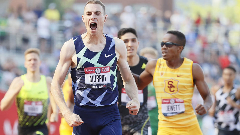 Clayton Murphy, pictured here celebrates his victory in the 800m at the US Olympic trials.