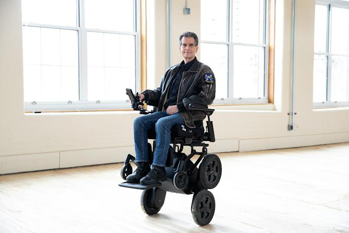 Dean Kamen, inventor of the iBOT personal mobility device, poses for a portrait with the iBOT, on May 3, 2021, at the Mobius Mobility space, in Manchester, New Hampshire.  (Kayana Szymczak for Yahoo News)