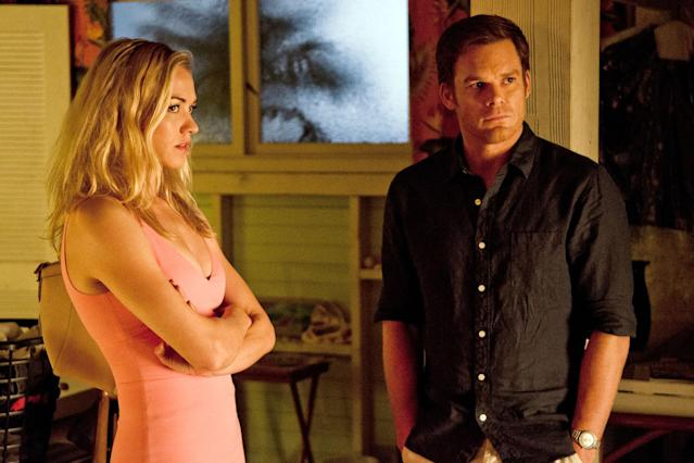 "Yvonne Strahovski as Hannah McKay and Michael C. Hall as Dexter Morgan in the ""Dexter"" Season 8 episode, ""Make Your Own Kind of Music."""