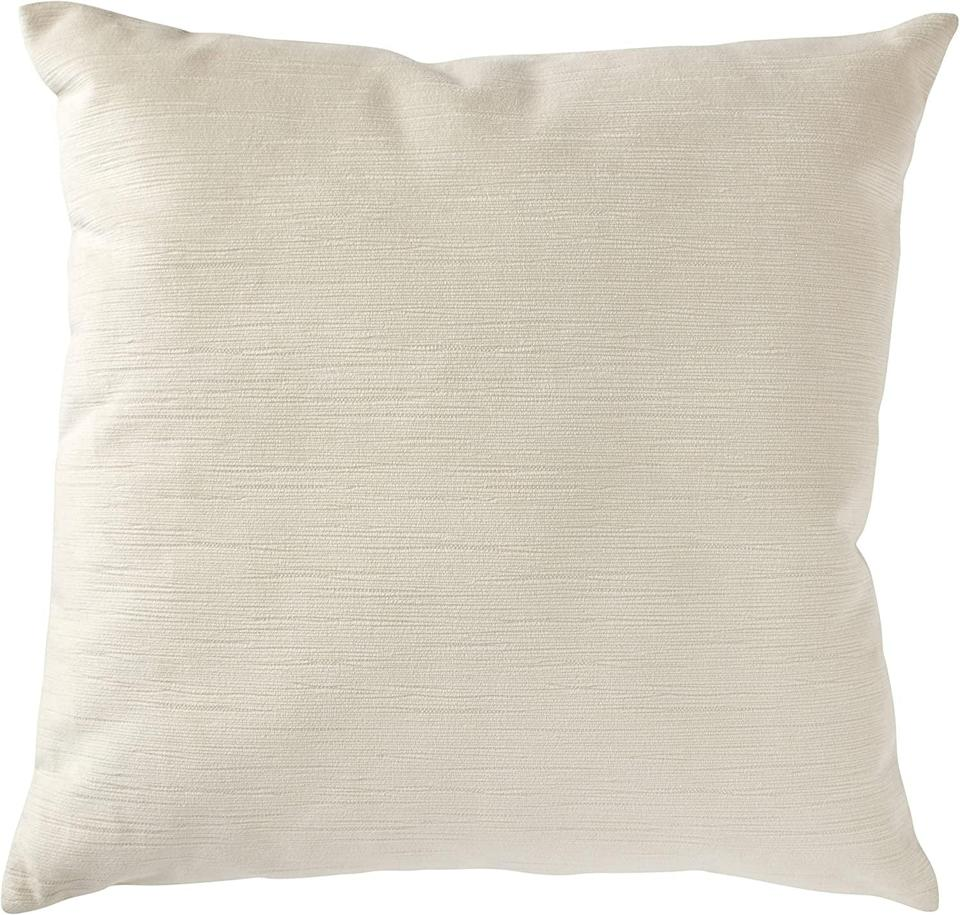 <p>Add this chic <span>Stone & Beam Striated Velvet Linen-Look Decorative Throw Pillow</span> ($26) to your sofa.</p>