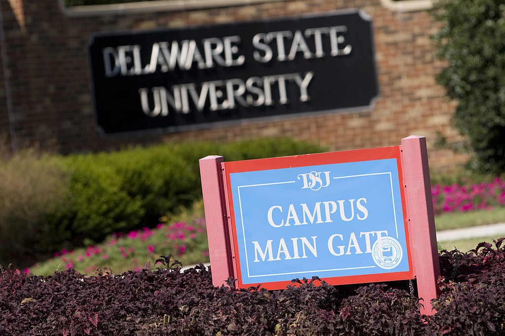 Main gate at Delaware State University where two students were shot early Friday morning on the school campus in Dover, Delaware.  As of early afternoon the shooter remains at large.  Friday Sept. 21, 2007.  Photographer: Jay Premack/Bloomberg News