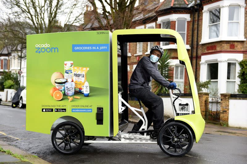 FILE PHOTO: An Ocado Zoom electric assisted delivery vehicle in Acton, London