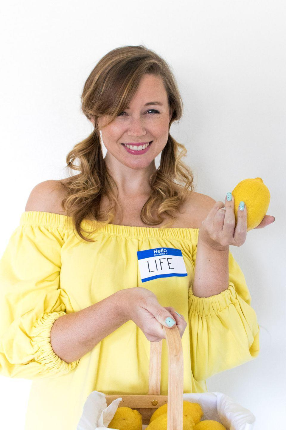 "<p>Make lemonade! All you need is a yellow top or dress, a name tag with the word ""Life,"" and a basket of lemons to recreate <em>Club Crafted</em>'s brilliant Halloween costume.</p><p><em><a href=""https://www.clubcrafted.com/2017/10/24/4-last-minute-idiom-halloween-costumes/"" rel=""nofollow noopener"" target=""_blank"" data-ylk=""slk:See more at Club Crafted »"" class=""link rapid-noclick-resp"">See more at Club Crafted »</a></em></p><p><a class=""link rapid-noclick-resp"" href=""https://www.amazon.com/MOLERANI-Womens-Sleeve-Dresses-Casual/dp/B07S722D6D/ref=sr_1_1?tag=syn-yahoo-20&ascsubtag=%5Bartid%7C10055.g.3848%5Bsrc%7Cyahoo-us"" rel=""nofollow noopener"" target=""_blank"" data-ylk=""slk:SHOP YELLOW DRESSES"">SHOP YELLOW DRESSES</a><br></p>"