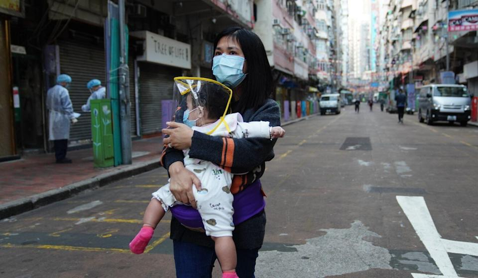 A woman in Yau Ma Tei after the lockdown is lifted. Photo: Sam Tsang