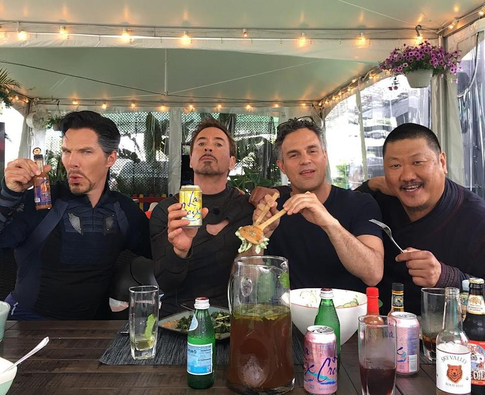 """<p>Iron Man Downey posted this photo during a June 21 lunch break with fellow heroes Stephen Strange, Bruce Banner, and Wong. The caption: """"Forks, tongs, cans + bottles + a Wong…"""" (Photo: <a href=""""https://www.instagram.com/p/BVm5j5MDKi_/"""" rel=""""nofollow noopener"""" target=""""_blank"""" data-ylk=""""slk:robertdowneyjr/Instagram"""" class=""""link rapid-noclick-resp"""">robertdowneyjr/Instagram</a>) </p>"""