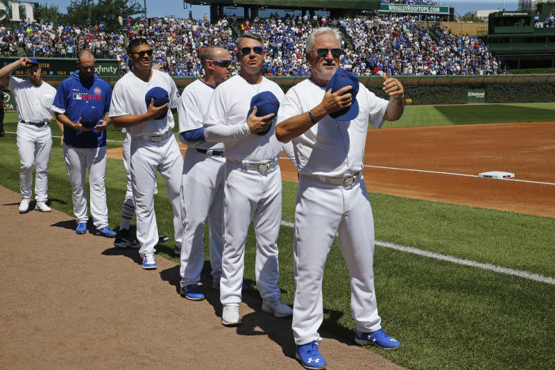 CHICAGO, ILLINOIS - AUGUST 23: Manager Joe Maddon #70 of the Chicago Cubs stands on the field prior to the game against the Washington Nationals at Wrigley Field on August 23, 2019 in Chicago, Illinois. (Photo by Nuccio DiNuzzo/Getty Images)