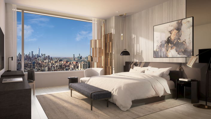 A scenic bedroom at the Ritz-Carlton Residences, coming to New York.