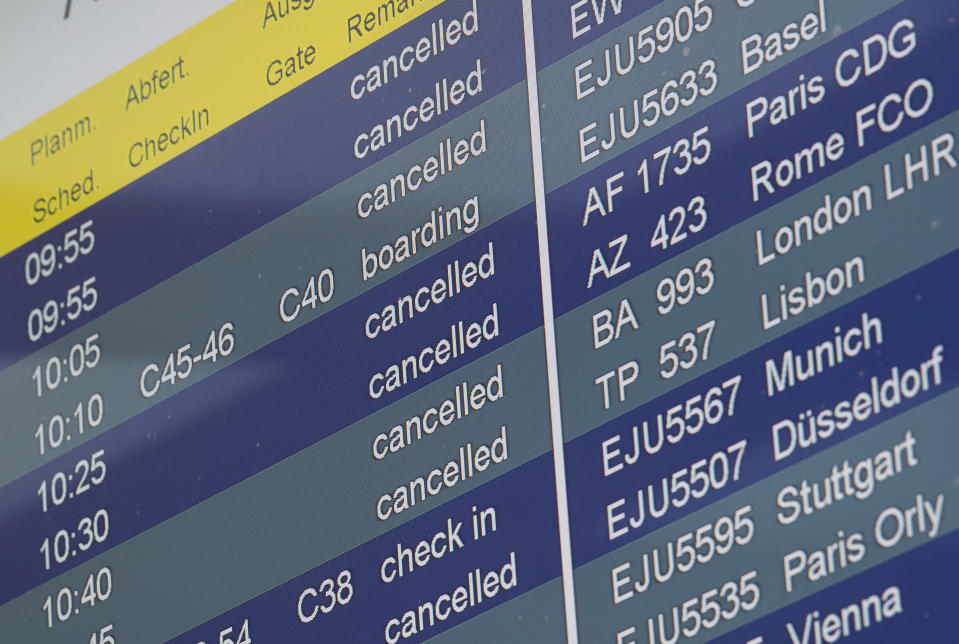 "21 March 2020, Berlin: Flights at Tegel Airport are marked as ""cancelled"" on the information board. The senate announces further measures to stop the spread of the corona virus in Berlin. Photo: Paul Zinken/dpa (Photo by Paul Zinken/picture alliance via Getty Images)"