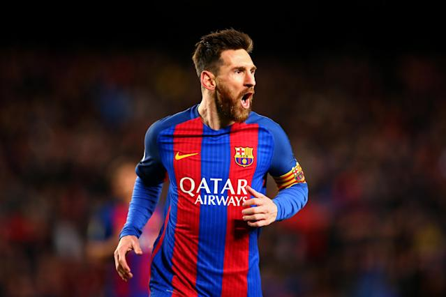 "<a class=""link rapid-noclick-resp"" href=""/soccer/players/lionel-messi/"" data-ylk=""slk:Lionel Messi"">Lionel Messi</a> has signed a new <a class=""link rapid-noclick-resp"" href=""/soccer/teams/barcelona/"" data-ylk=""slk:Barcelona"">Barcelona</a> contract that should keep him at the club through 2021. (Getty)"