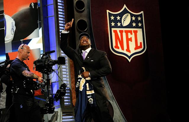 Jason Smith was selected second overall in the 2009 NFL draft, behind the Lions' Matthew Stafford. (Getty Images)
