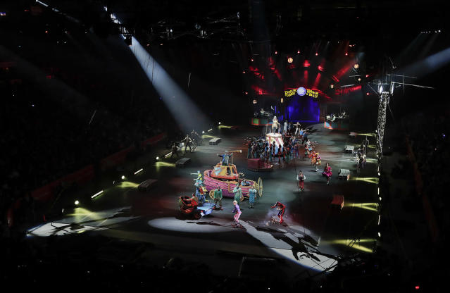 """<p>The red unit of Ringling Bros. and Barnum & Bailey circus opens a show, Sunday, May 7, 2017, in Providence, R.I. """"The Greatest Show on Earth"""" is about to put on its last show on earth. For the performers who travel with the Ringling Bros. and Barnum & Bailey Circus, its demise means the end of a unique way of life for hundreds of performers and crew members. (Photo: Julie Jacobson/AP) </p>"""