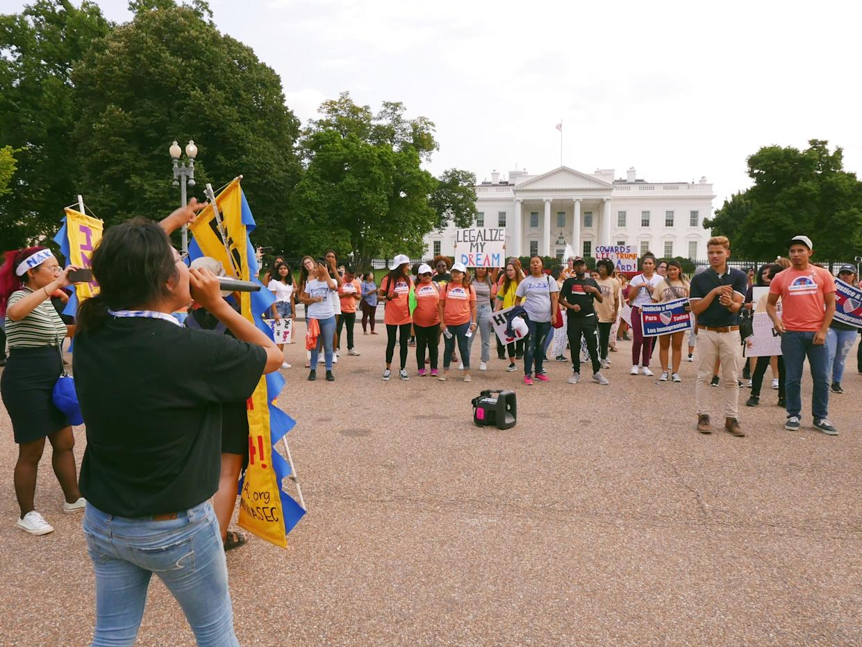 A group assembled outside of the White House to protest President Trump's decision to end the Deferred Action for Childhood Arrivals, Sept. 5, 2017. (Photo: Hunter Walker/Yahoo News)